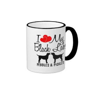 Amor del personalizado I mi taza negra de dos labo