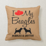Amor del personalizado I mis beagles Cojin