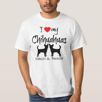 Amor del personalizado I mis chihuahuas Playeras