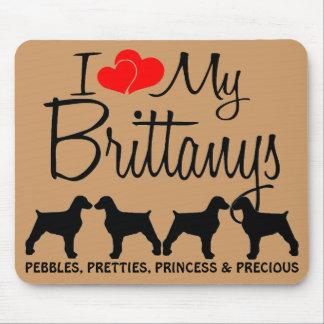 Amor del personalizado I mis cuatro Brittanys Mouse Pads