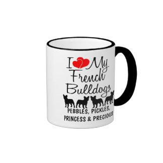 Amor del personalizado I mis cuatro dogos francese Taza A Dos Colores