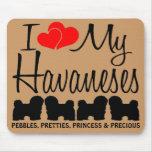 Amor del personalizado I mis cuatro Havaneses Alfombrillas De Ratones