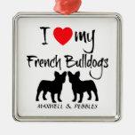 Amor del personalizado I mis dogos franceses Ornamento De Navidad