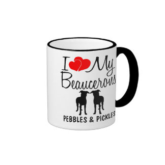 Amor del personalizado I mis dos Beaucerons Taza A Dos Colores