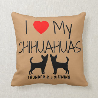 Amor del personalizado I mis dos chihuahuas Cojín