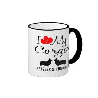 Amor del personalizado I mis dos Corgis Tazas De Café