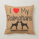 Amor del personalizado I mis dos Dalmatians Cojines