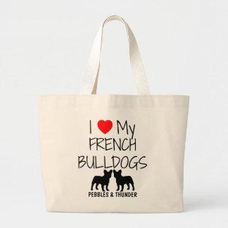 Amor del personalizado I mis dos dogos franceses Bolsa Tela Grande