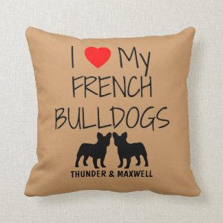 Amor del personalizado I mis dos dogos franceses Almohadas