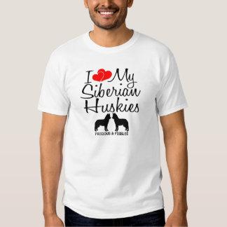 Amor del personalizado I mis dos huskyes Remeras