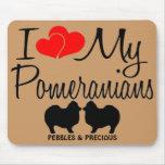 Amor del personalizado I mis dos Pomeranians Mouse Alfombrilla De Ratón