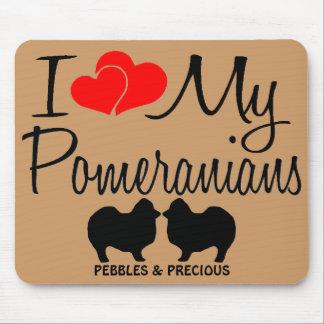 Amor del personalizado I mis dos Pomeranians Mouse Mousepads