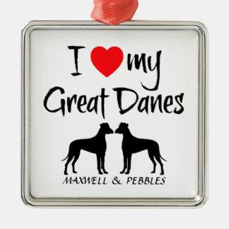 Amor del personalizado I mis grandes daneses Ornamento Para Arbol De Navidad