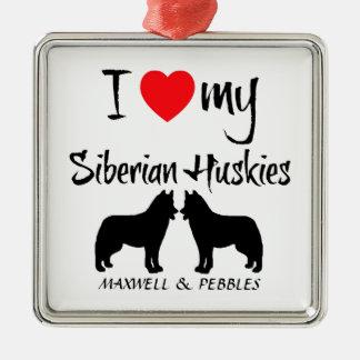 Amor del personalizado I mis huskyes siberianos Adorno Cuadrado Plateado