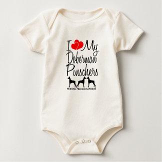 Amor del personalizado I mis Pinschers de tres Traje De Bebé