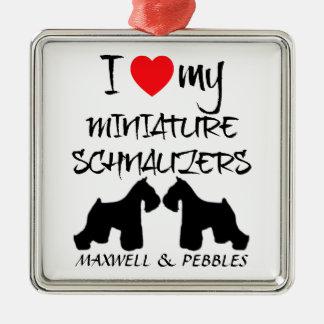 Amor del personalizado I mis Schnauzers miniatura Ornamentos Para Reyes Magos