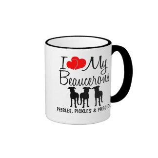 Amor del personalizado I mis tres Beaucerons Taza A Dos Colores