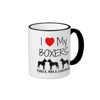Amor del personalizado I mis tres boxeadores Taza De Dos Colores
