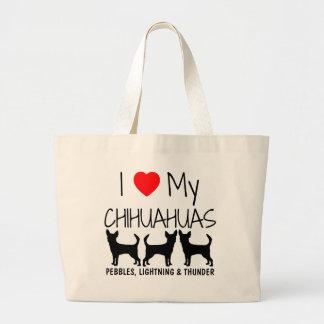Amor del personalizado I mis tres chihuahuas Bolsa Tela Grande