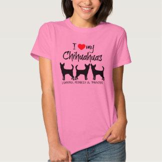 Amor del personalizado I mis tres chihuahuas Playera