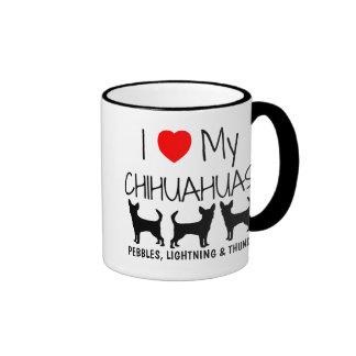 Amor del personalizado I mis tres chihuahuas Taza De Dos Colores