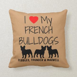 Amor del personalizado I mis tres dogos franceses Cojin