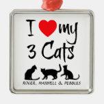 Amor del personalizado I mis tres gatos Adornos