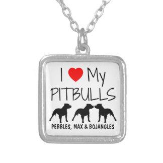 Amor del personalizado I mis tres Pitbulls Colgante Cuadrado