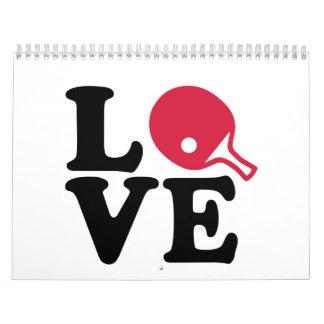 Amor del ping-pong calendario