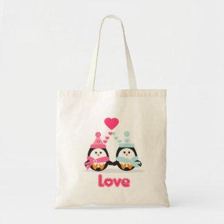 Amor del pingüino bolsa tela barata