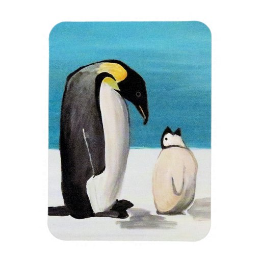 Amor del pingüino iman rectangular