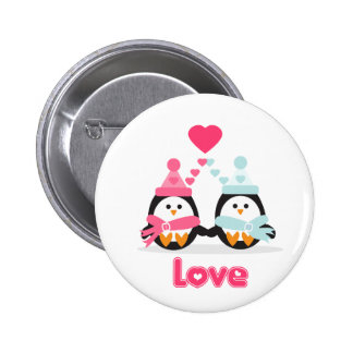 Amor del pingüino pin redondo 5 cm