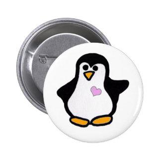 Amor del pingüino pin redondo de 2 pulgadas