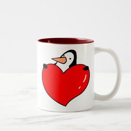 Amor del pingüino taza de dos tonos
