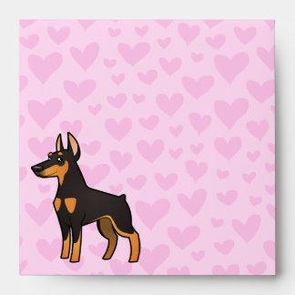Amor del Pinscher del Doberman (oídos puntiagudos) Sobres