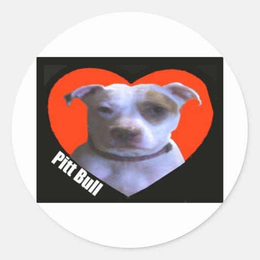 Amor del pitbull etiqueta redonda