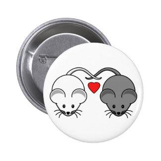 Amor del ratón del ébano y de la marfil pin redondo de 2 pulgadas