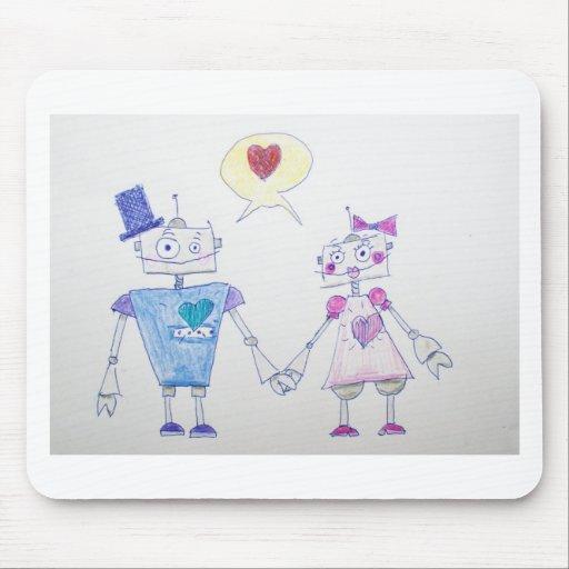 Amor del robot alfombrillas de raton