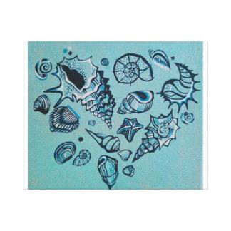 Amor del Seashell Lona Estirada Galerías