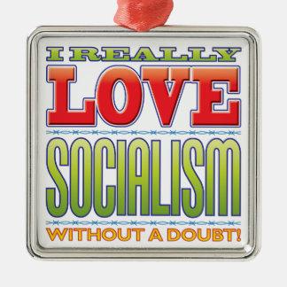 Amor del socialismo adorno cuadrado plateado