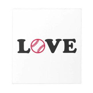 Amor del softball bloc de notas