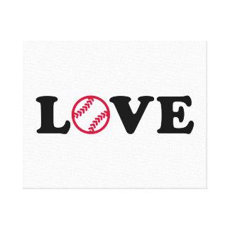 Amor del softball impresión en lienzo