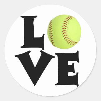 Amor del softball pegatina redonda
