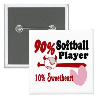 Amor del softball pin cuadrado