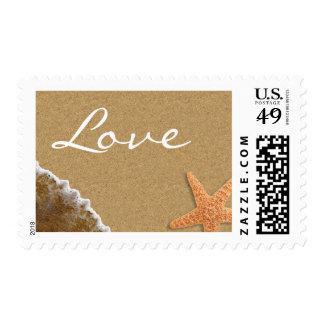 Amor del tema de la arena y de la playa de las sello postal