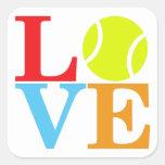 AMOR del tenis del as Pegatinas Cuadradases