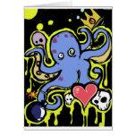 Amor del tentáculo y del cráneo felicitaciones