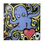 Amor del tentáculo y del cráneo tejas  ceramicas