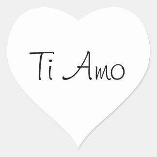 Amor del Ti Amo/I usted Pegatina En Forma De Corazón
