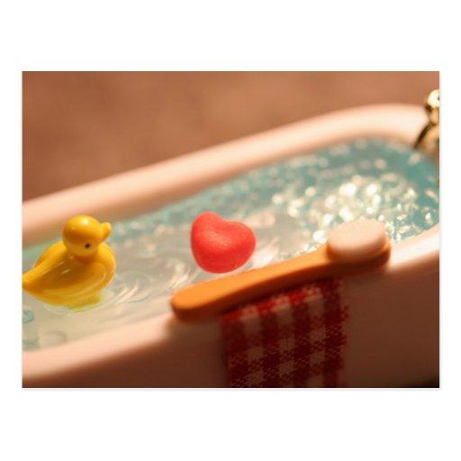Amor del tiempo del baño postal